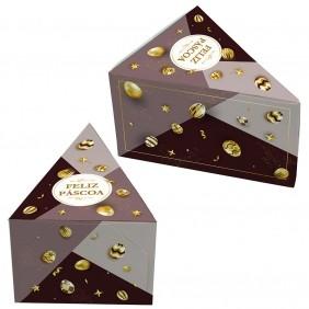 Caixa Fatia de Bolo - Páscoa Ouro c/100 un