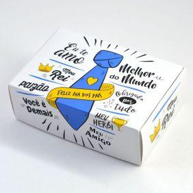 Caixa para 6 doces Dia dos Pais - Gravata C/10 UN