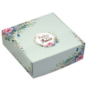 Caixa para 9 doces - Floral Verde - C/10 un