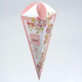 Caixa para Cone Trufado - Floral Rosé c/ 25un