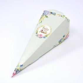 Caixa para Cone Trufado - Floral Verde c/ 25 un