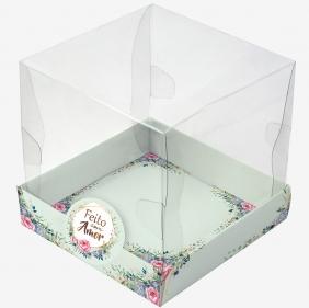 Caixa Premium mini bolo - Floral Verde c/ 10 un