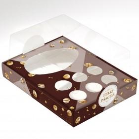 Caixa Premium para Ovo de Colher + Brigadeiro - Páscoa Ouro C/10un