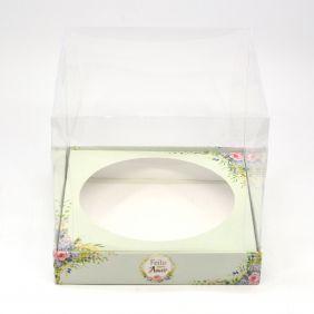 Caixa Premium para Panetone 500g / Bolo - Floral Verde c/5un