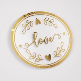 Etiqueta Adesiva Hot Stamp - Mod Love 01 DOURADO- 5x5 c/ 100un