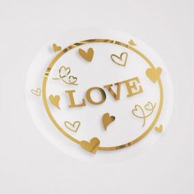 Etiqueta Adesiva Hot Stamp - Mod Love 02 DOURADO - 5x5 c/ 100un