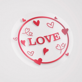 Etiqueta Adesiva Hot Stamp - Mod Love 02 VERMELHO - 5x5 c/ 100un