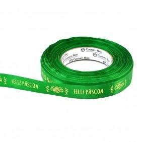Fita Cetim Premium Verde - Feliz Páscoa - 22 mm - C/ 50m