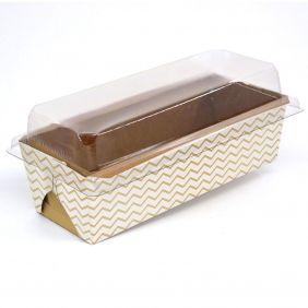 Forma para bolo inglês G C/ Tampa - Mod Chevron Dourado c/ 100 un