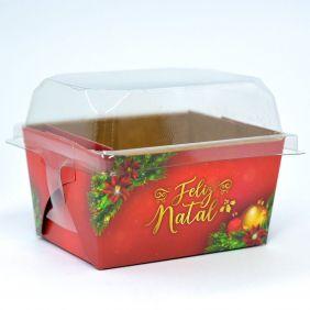 Forma para bolo inglês P c/ tampa Natal Esplêndido c/ 100 un