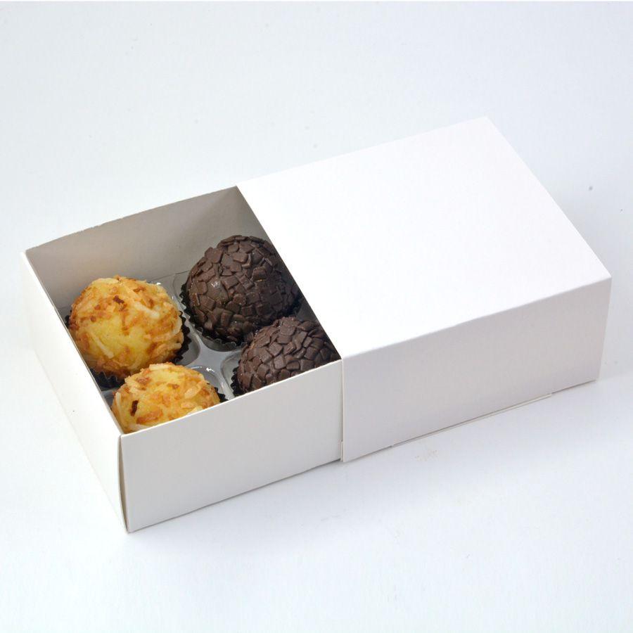 Caixa Deslizante para 4 doces - Branca c/10 un
