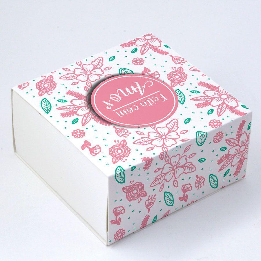 Caixa Deslizante para 4 doces FCA - Floral c/10 un