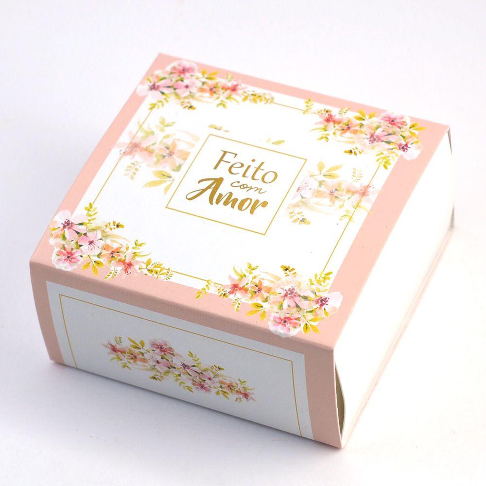 Caixa Deslizante para 4 doces - Floral Rose c/10 un