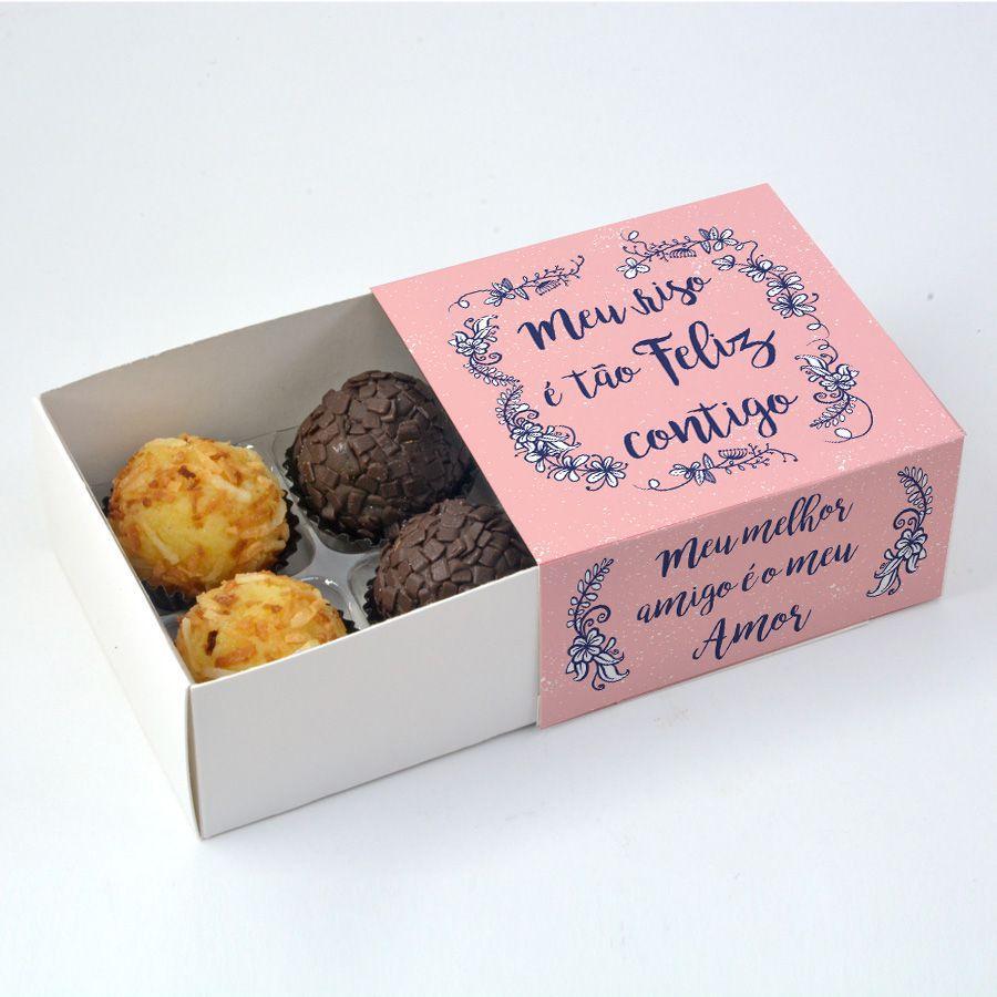 Caixa Deslizante para 4 doces Namorados - Meu Riso c/10 un