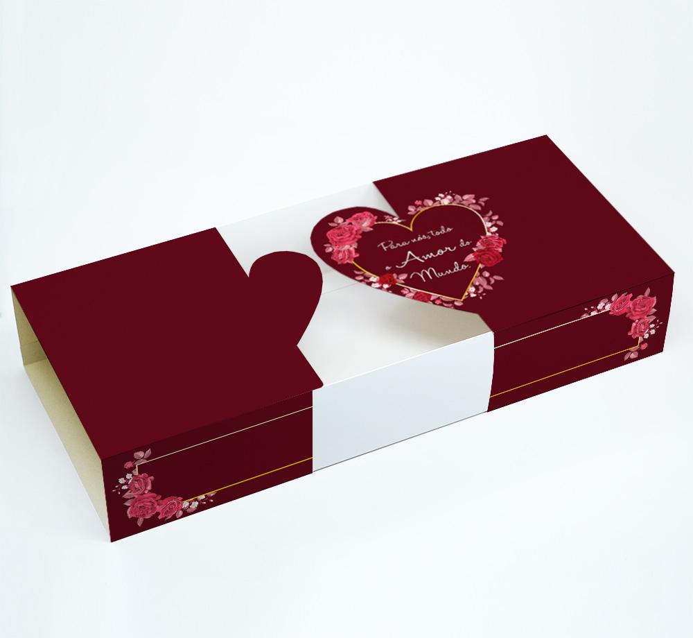 Caixa Deslizante Todo Amor - Coração Aberto c/ 10 un