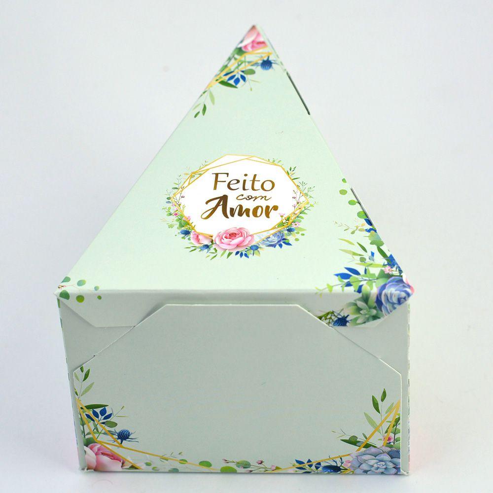 Caixa Fatia de Bolo - Floral Verde c/50 un