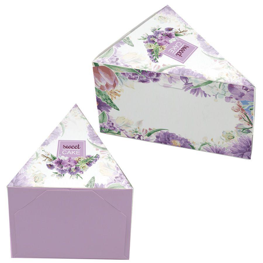 Caixa Fatia de Bolo - Floral Lilás c/100 un