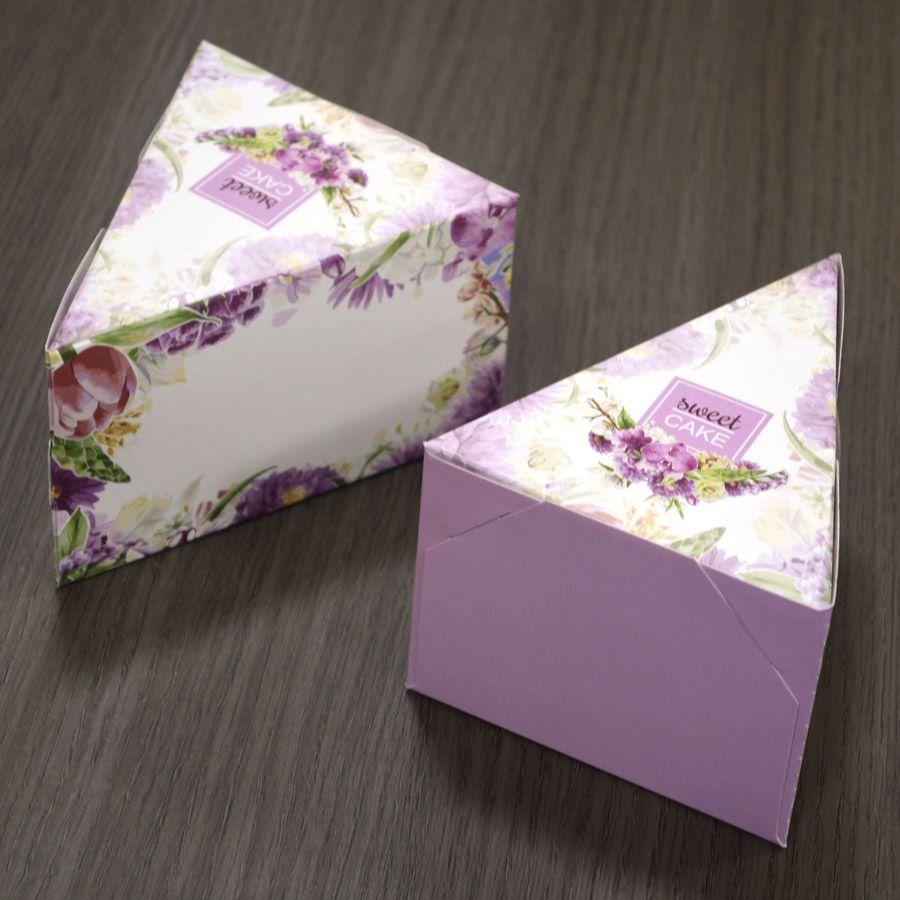Caixa Fatia de Bolo - Floral Lilás c/50 un