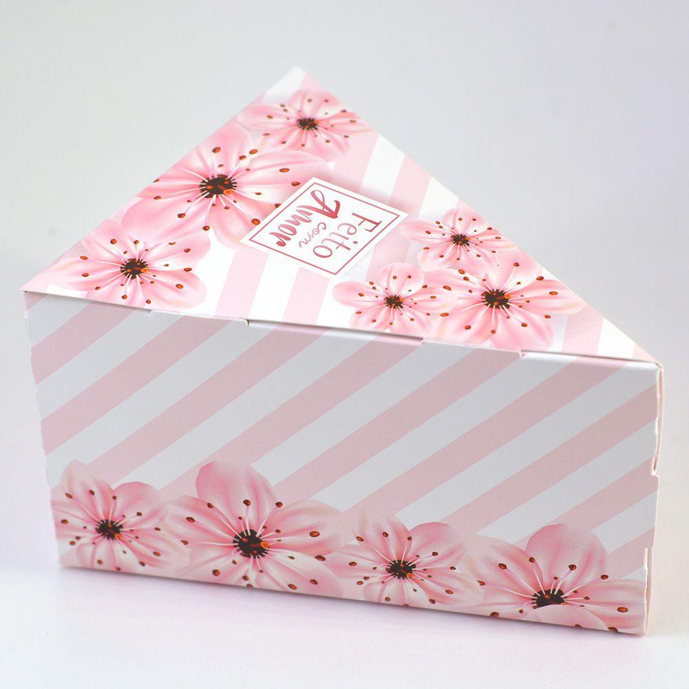 Caixa Fatia de Bolo - Floral Listrado c/25 un