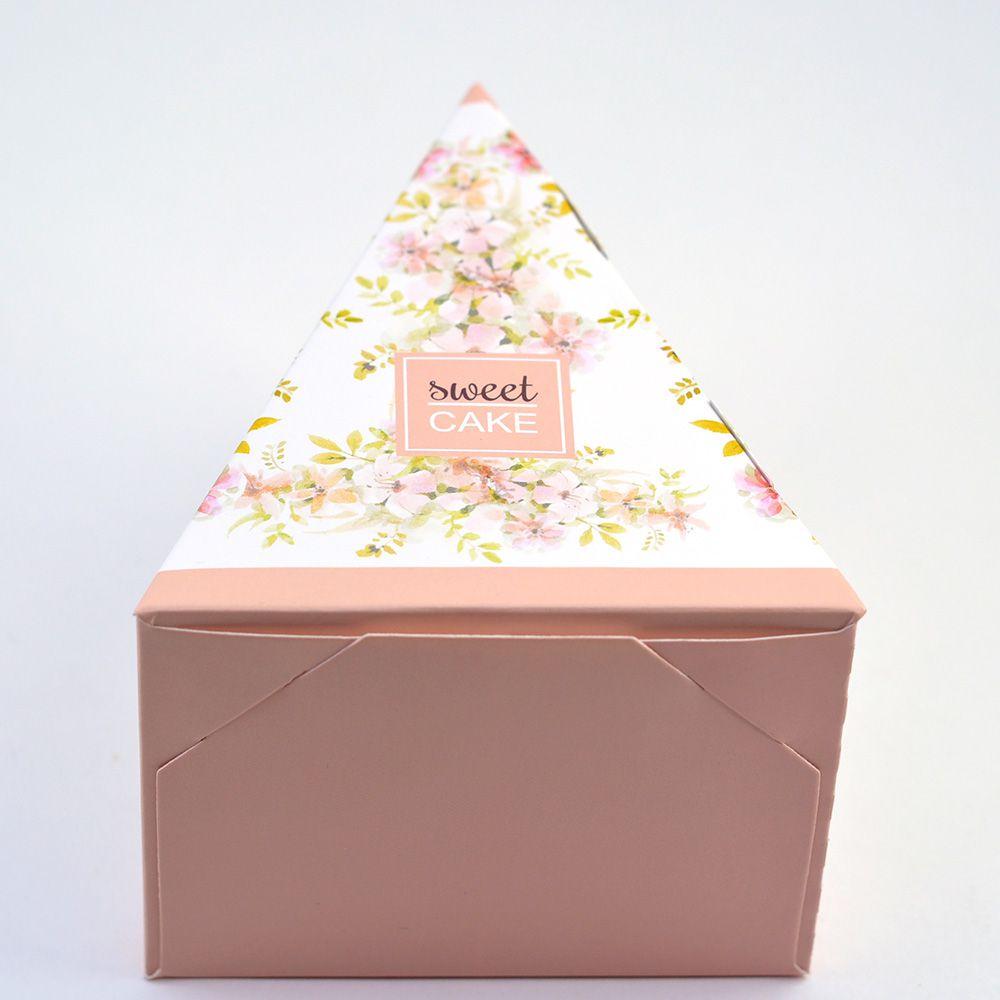 Caixa Fatia de Bolo - Floral Rose c/100 un