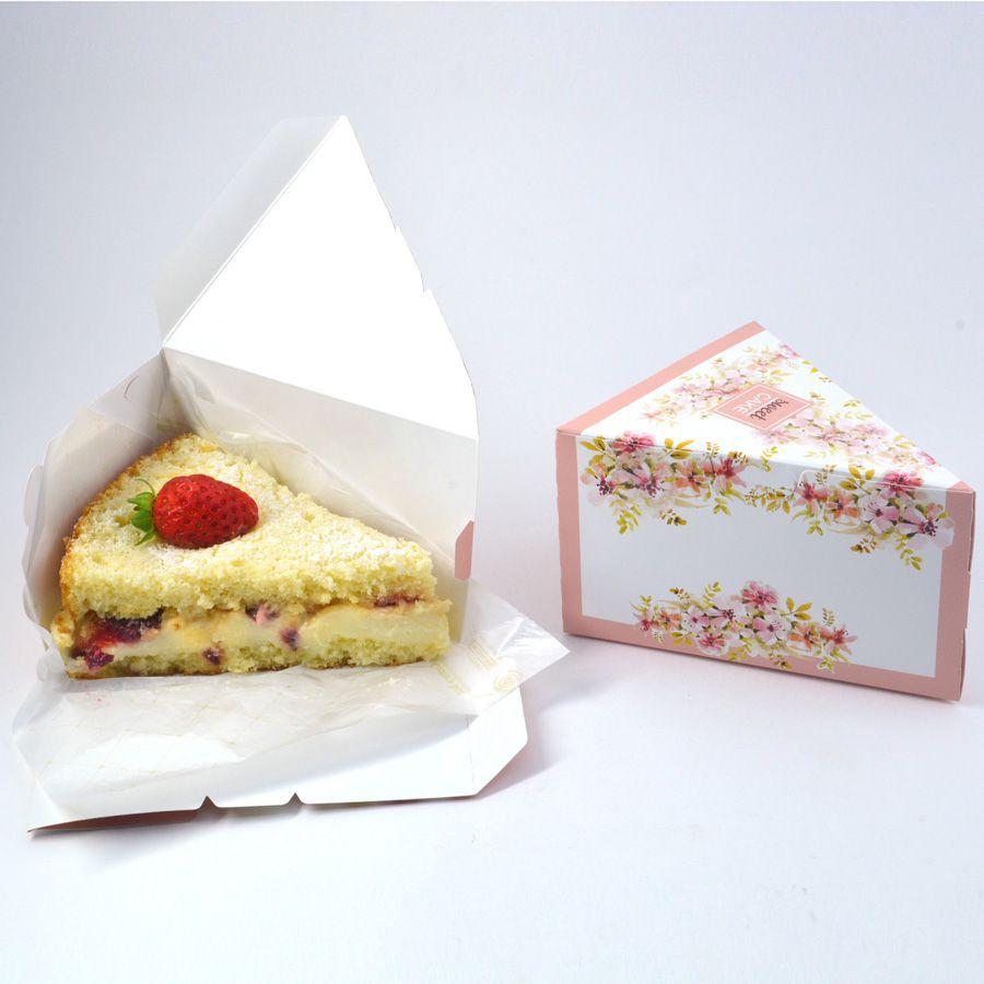 Caixa Fatia de Bolo - Floral Rose c/50 un