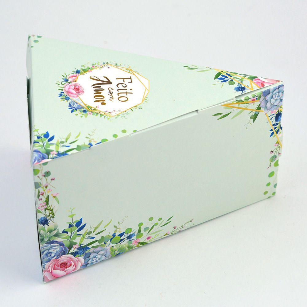 Caixa Fatia de Bolo - Floral Verde c/25 un