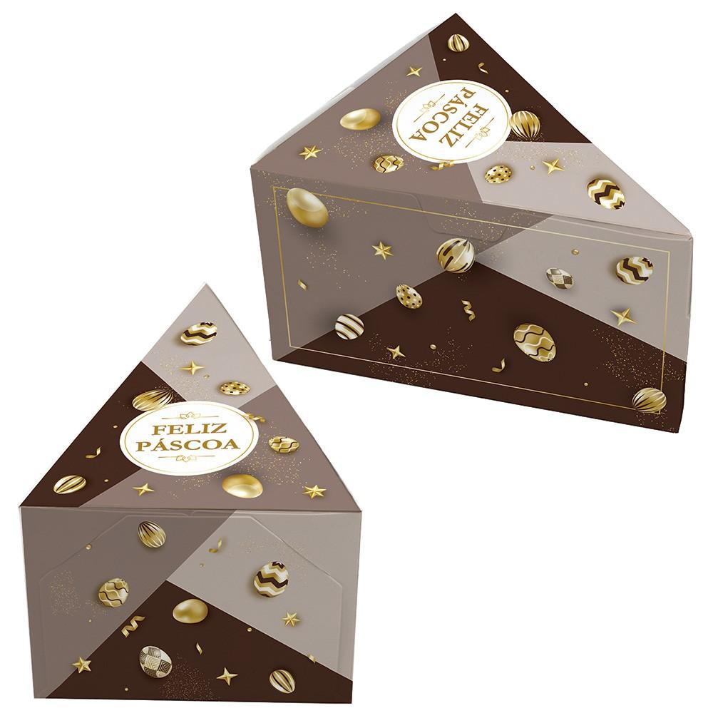 Caixa Fatia de Bolo - Páscoa Ouro C/25 un