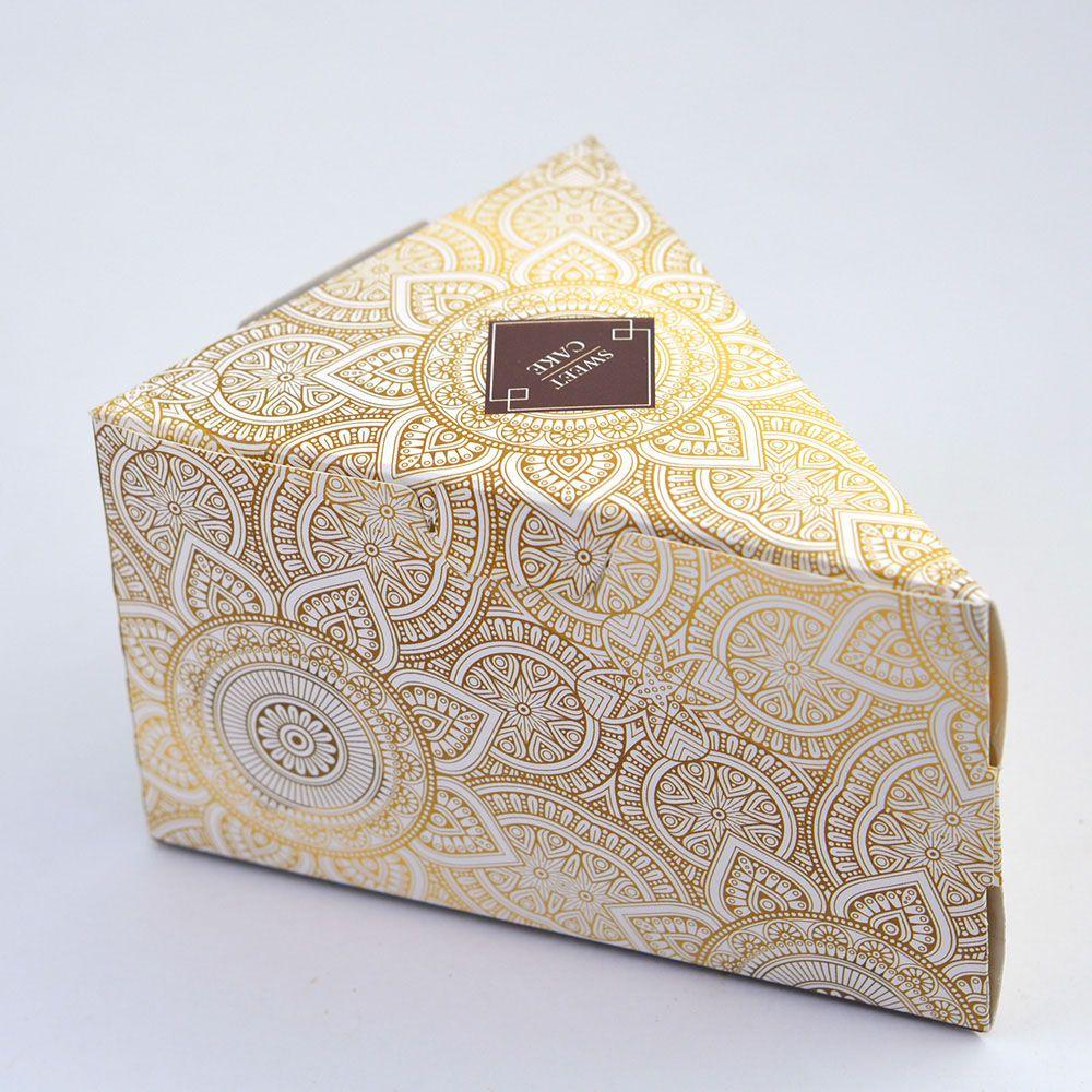Caixa Fatia de Bolo - Pattern Marrom c/100 un
