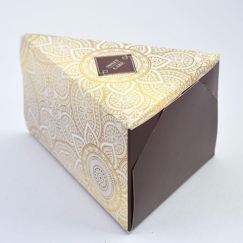 Caixa Fatia de Bolo - Pattern Marrom c/50 un