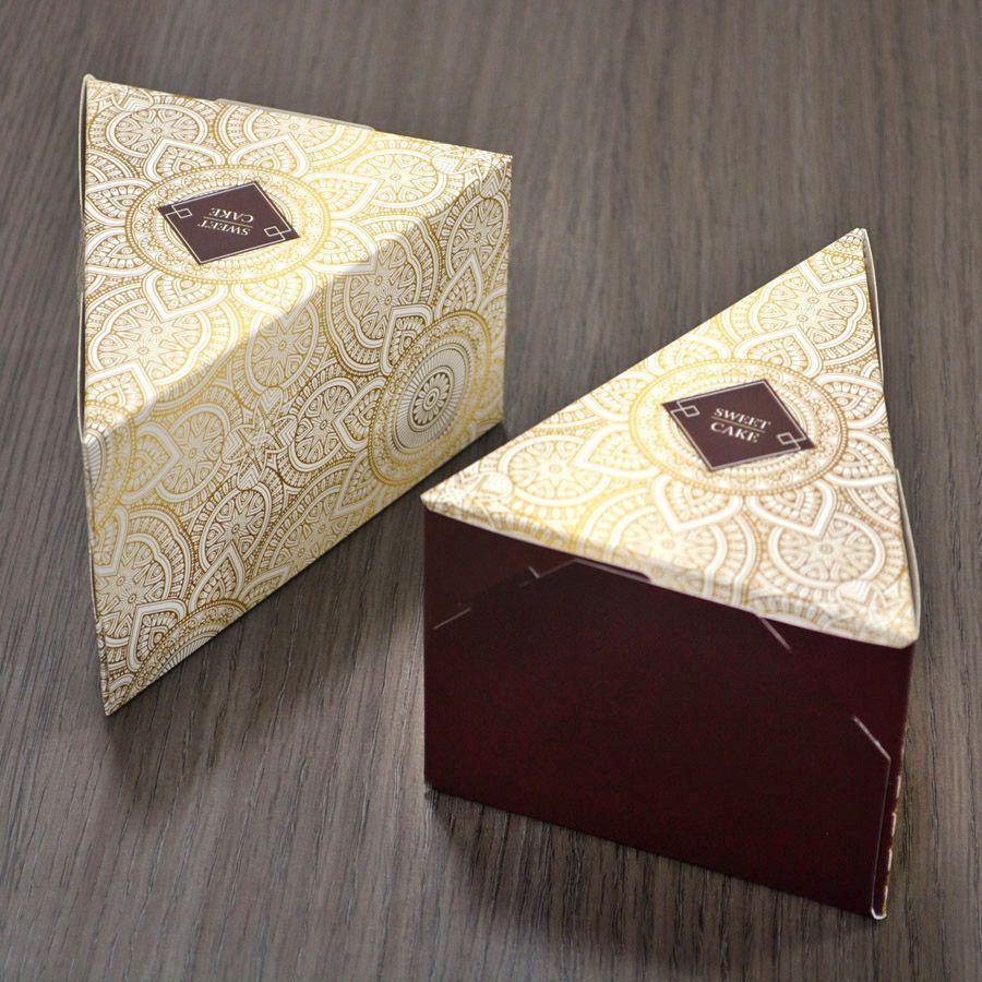 Caixa Fatia de Bolo - Pattern Marrom c/25 un