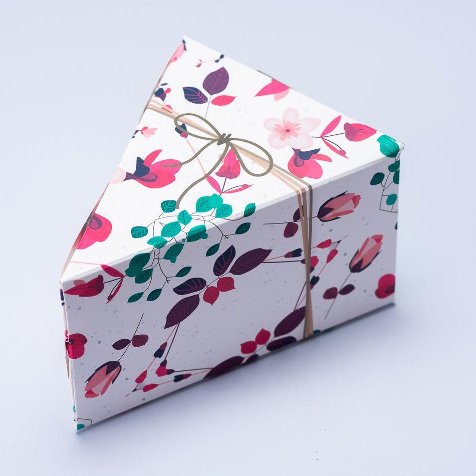 Caixa Fatia de Bolo - Presente Floral c/50 un