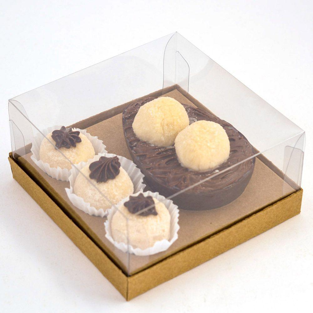 Caixa G Premium - Ovo de 100/150g + 3 Brigadeiros -  Kraft c/ 10 un