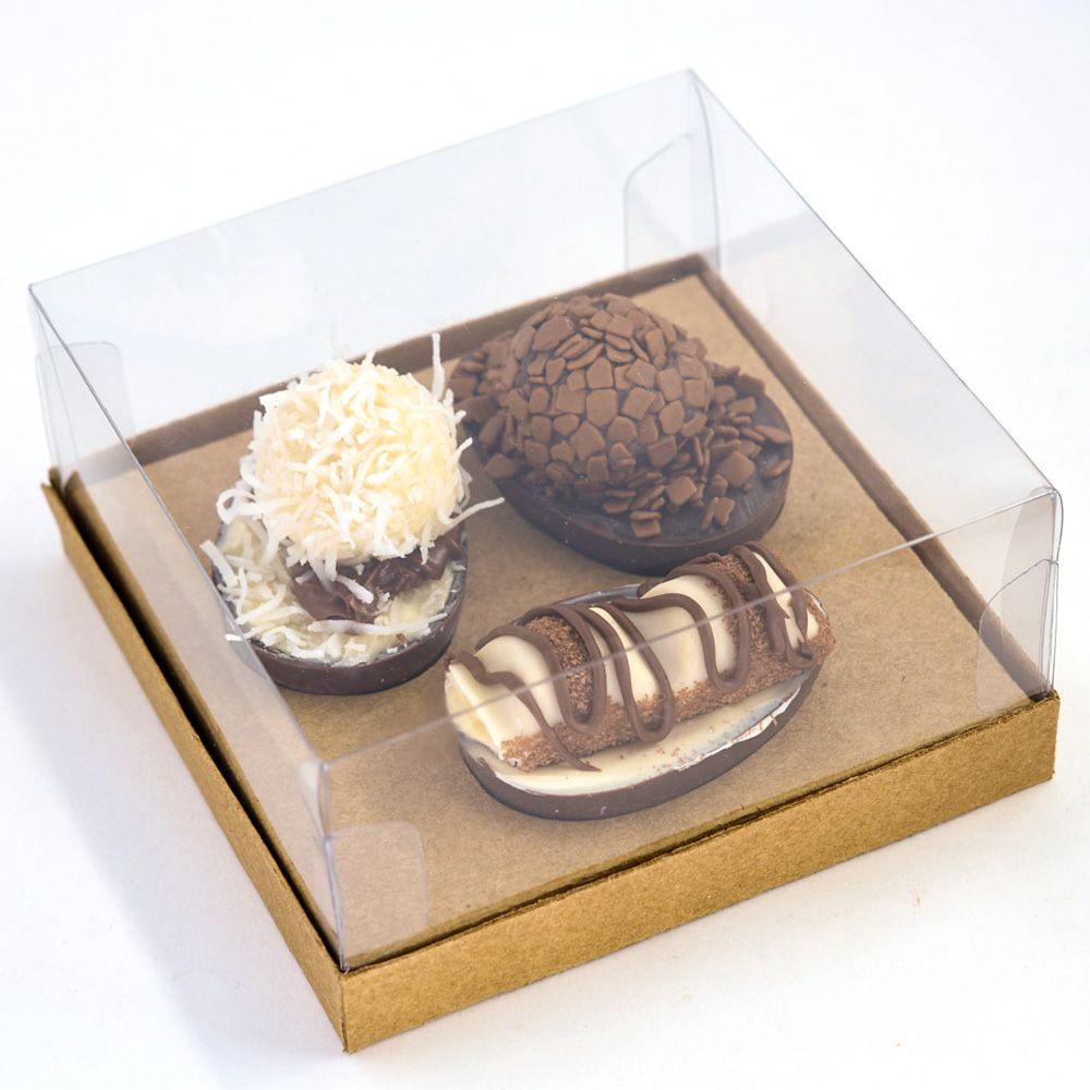Caixa G Premium para 3 Ovos de 50g - KRAFT c/ 10 un