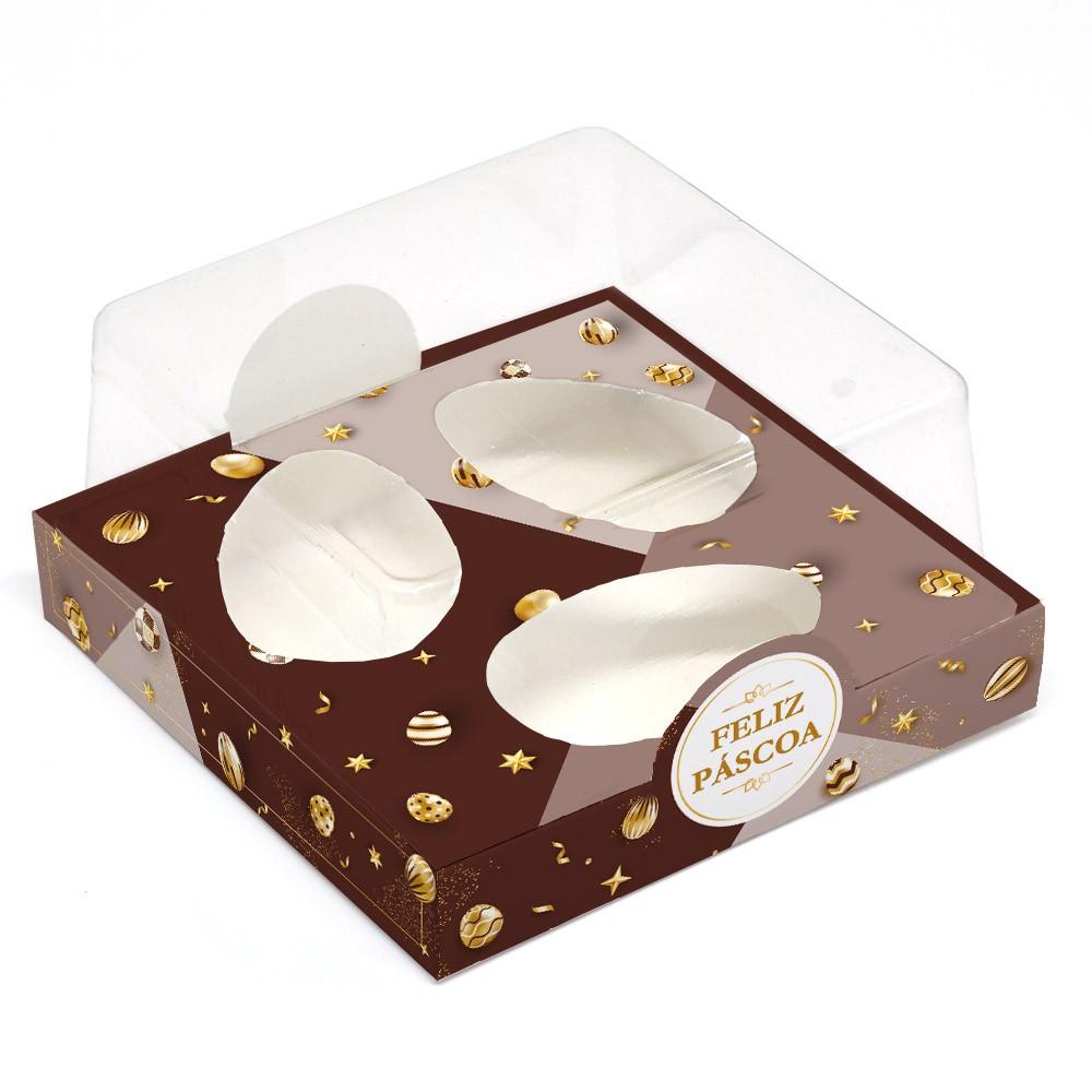 Caixa G Premium para 3 Ovos de 50g - Páscoa Ouro C/ 10 un
