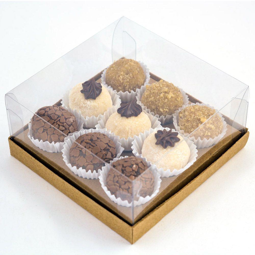 Caixa G Premium para 9 doces - Kraft c/ 10 un
