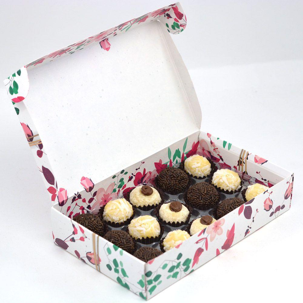 Caixa para 15 doces - Presente Floral c/10 un