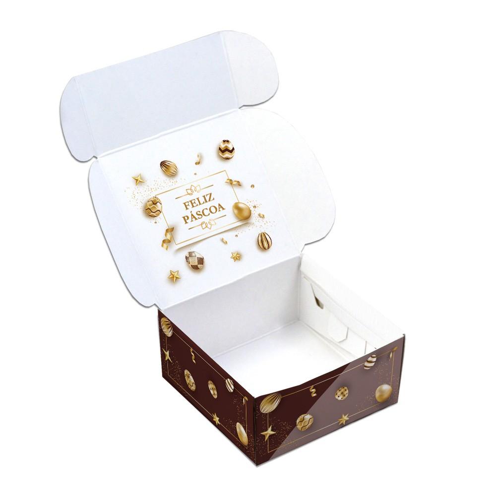 Caixa Para 4 Doces - Páscoa Ouro - C/10un