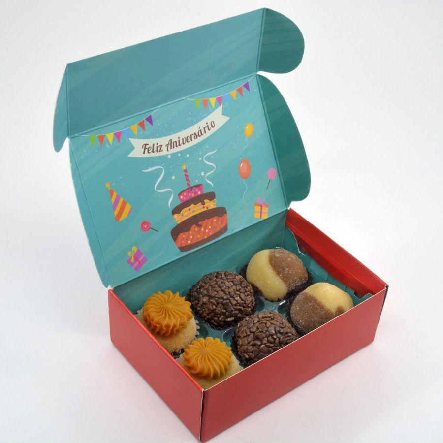 Caixa para 6 doces - Aniversário C/10 UN