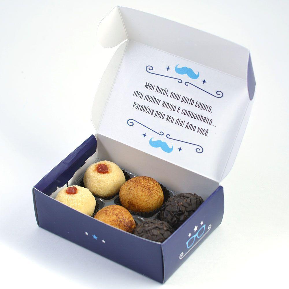 Caixa para 6 doces Dia dos Pais - Estilo C/10 UN