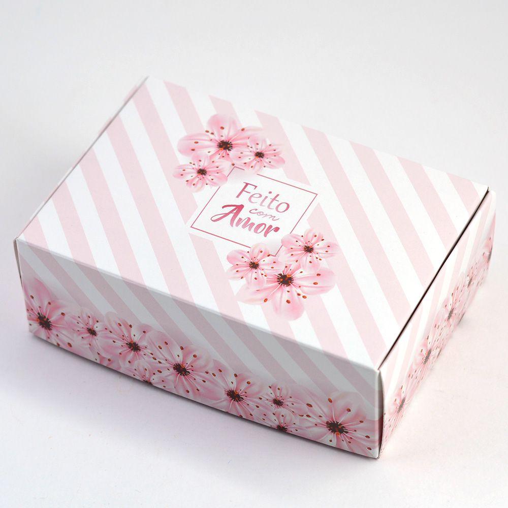 Caixa para 6 doces - Floral Listrado C/10 UN