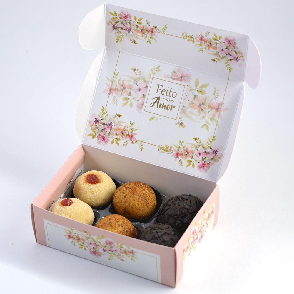 Caixa para 6 doces - Floral Rose C/10 UN