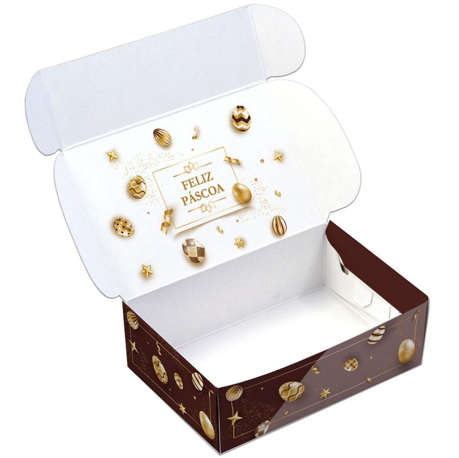 Caixa Para 6 Doces - Páscoa Ouro  C/10 UN