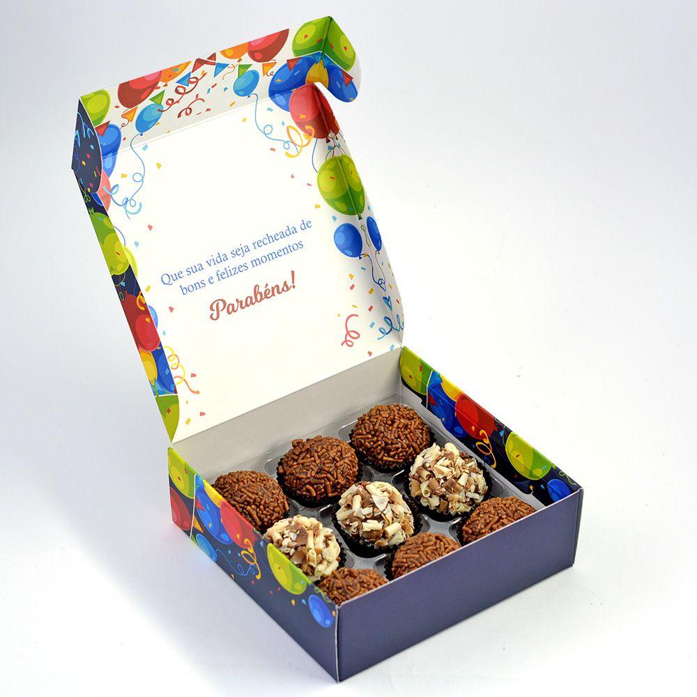 Caixa para 9 doces - Aniversário 2 C/10 un