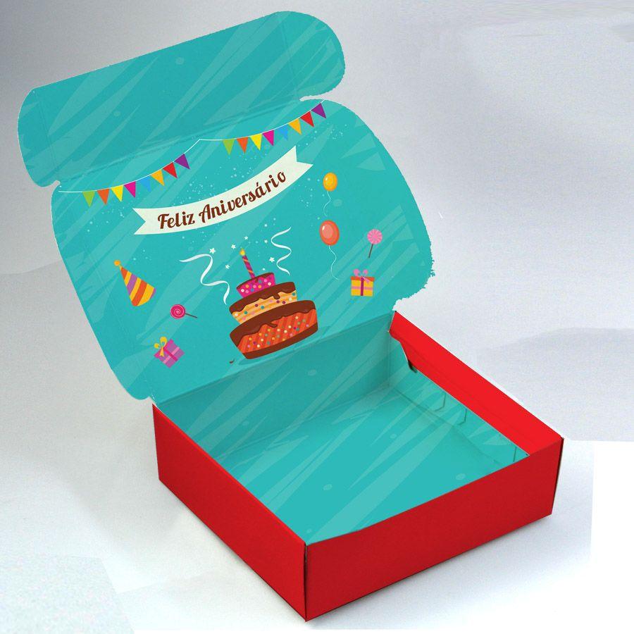Caixa para 9 doces - ANIVERSÁRIO C/10 un
