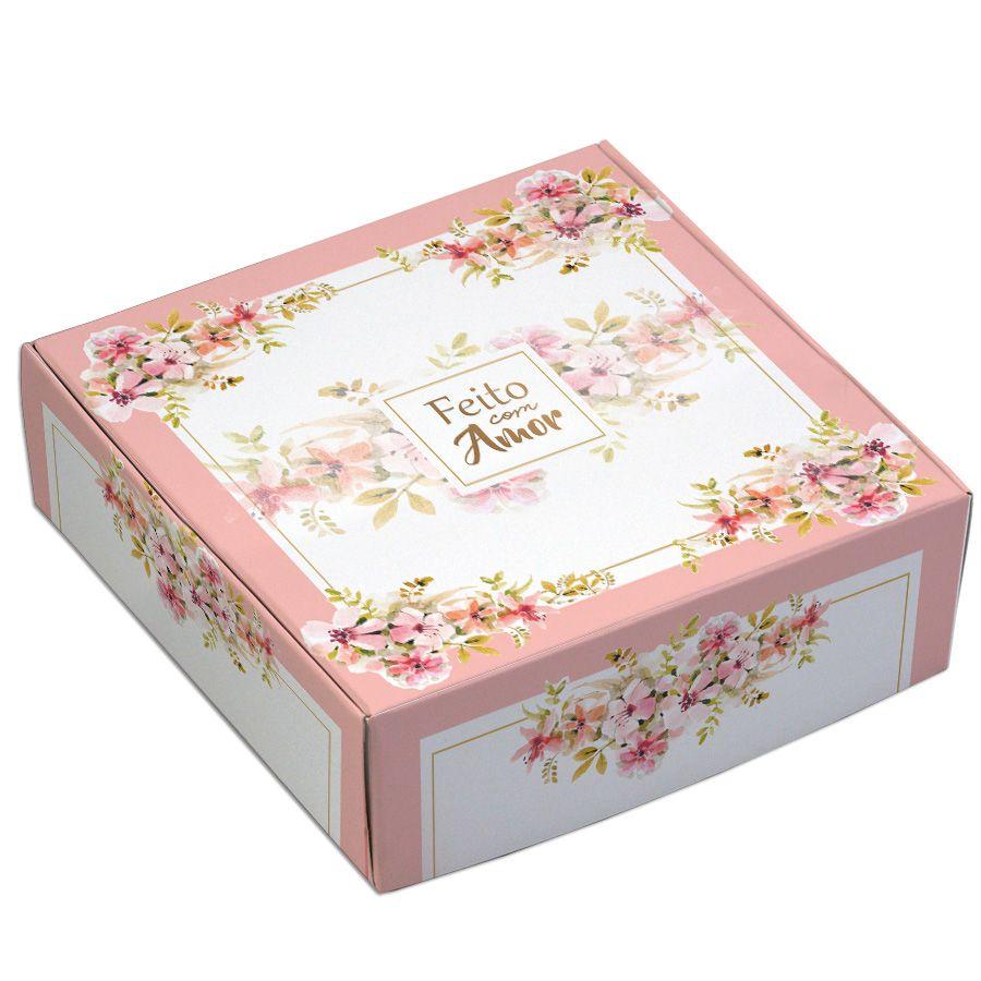 Caixa para 9 doces - Floral rose - C/10 un