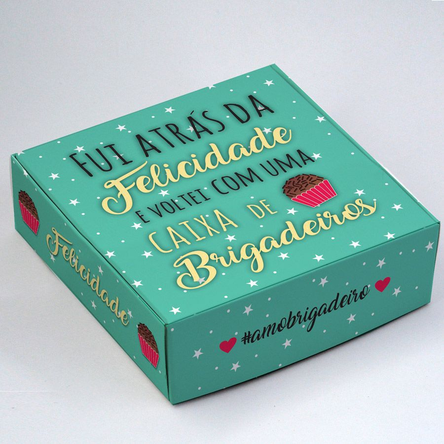 Caixa para 9 doces - Fui Atrás da Felicidade C/10 un