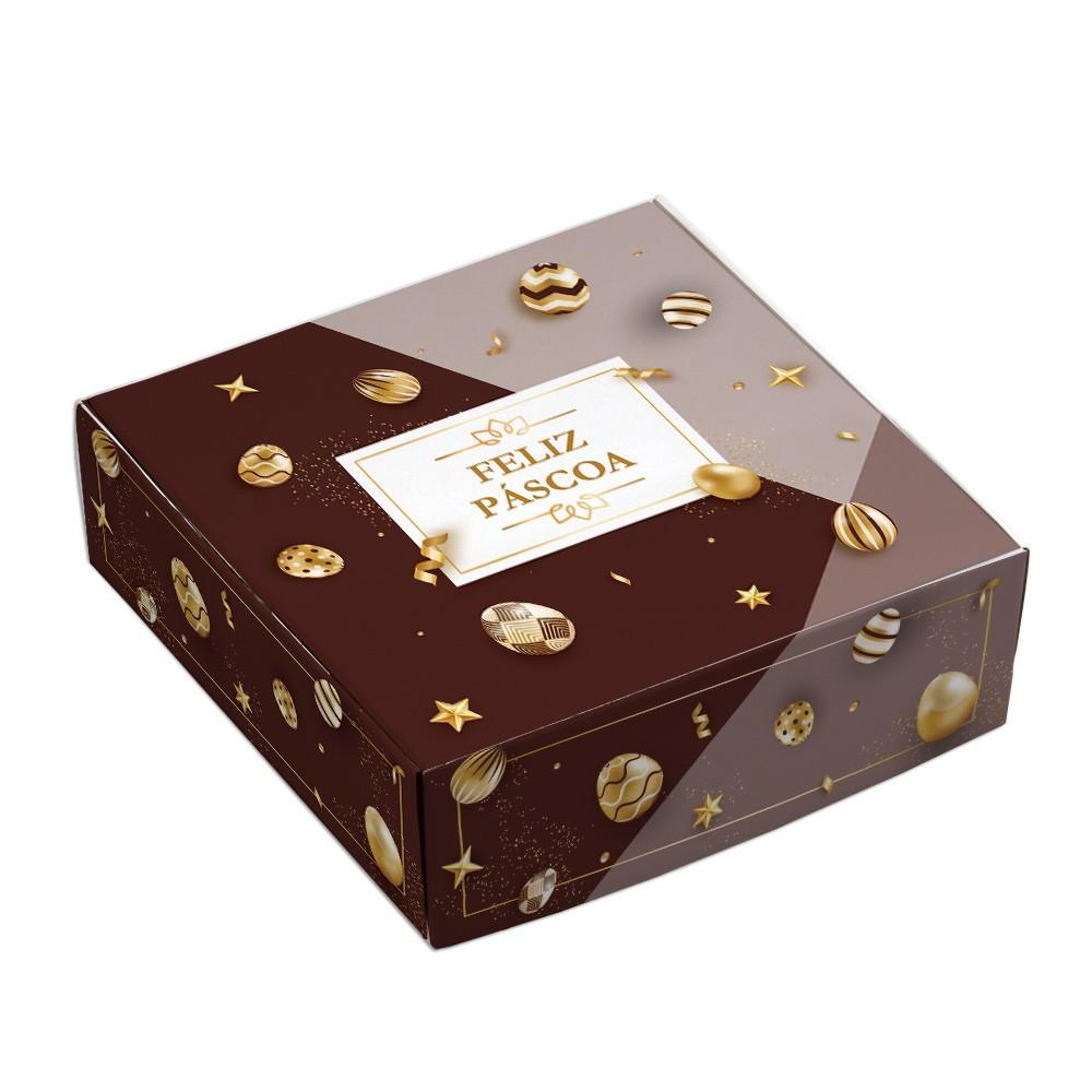 Caixa Para 9 Doces - Páscoa Ouro C/10un