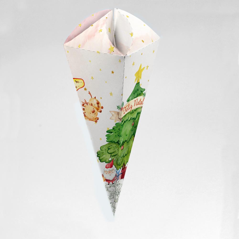Caixa para Cone Trufado - Natal Alegre c/ 100 un