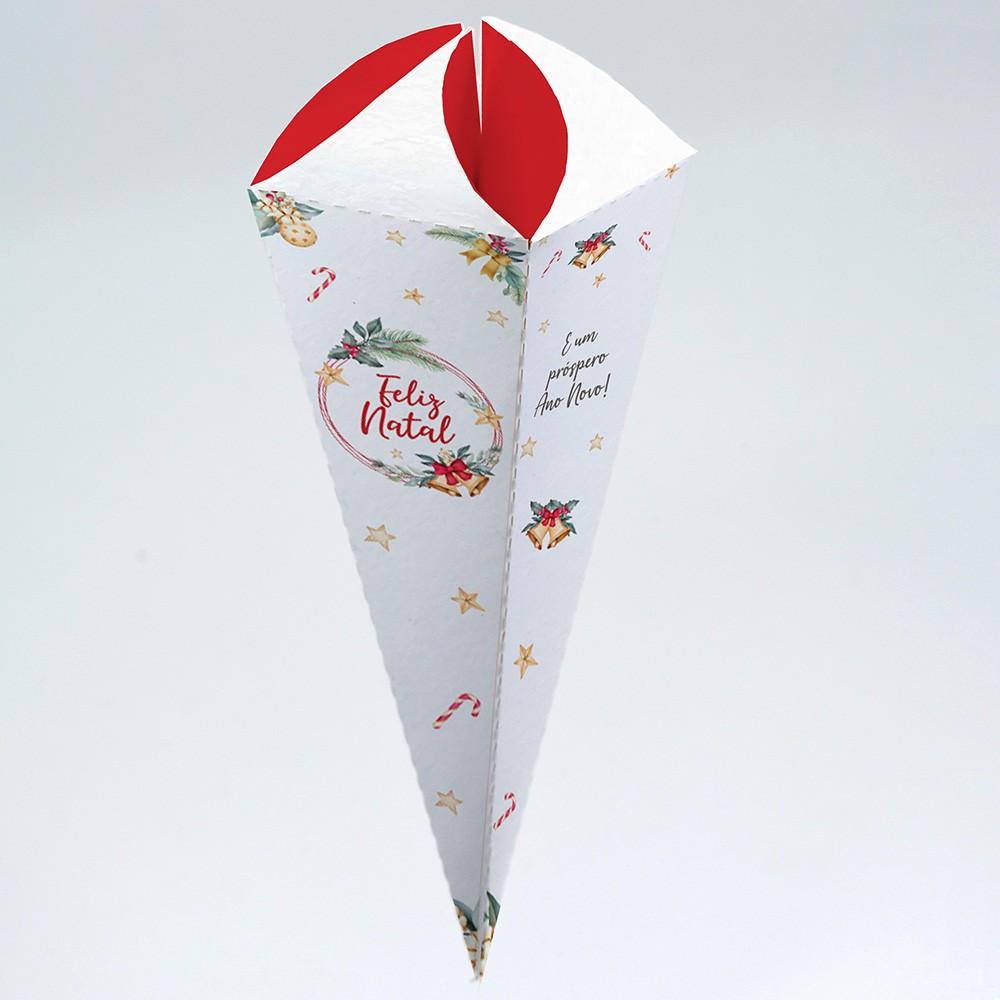 Caixa para Cone Trufado - Natal Estrela c/25 un