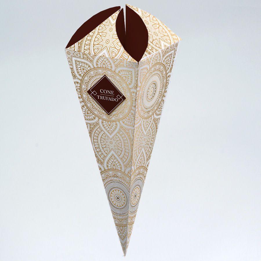 Caixa para Cone Trufado - Pattern Marrom c/25 un